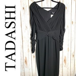 TADASHI COLLECTION Ruched cocktail dress